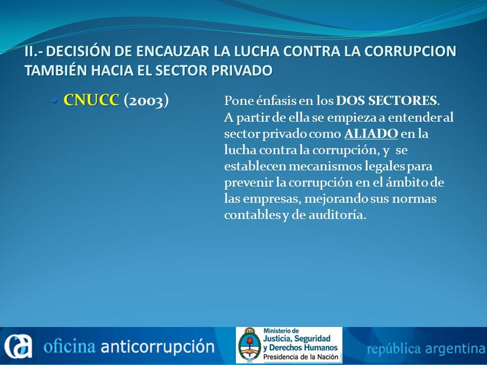 II.- DECISIÓN DE ENCAUZAR LA LUCHA CONTRA LA CORRUPCION TAMBIÉN HACIA EL SECTOR PRIVADO CNUCC CNUCC (2003) Pone énfasis en los DOS SECTORES. A partir
