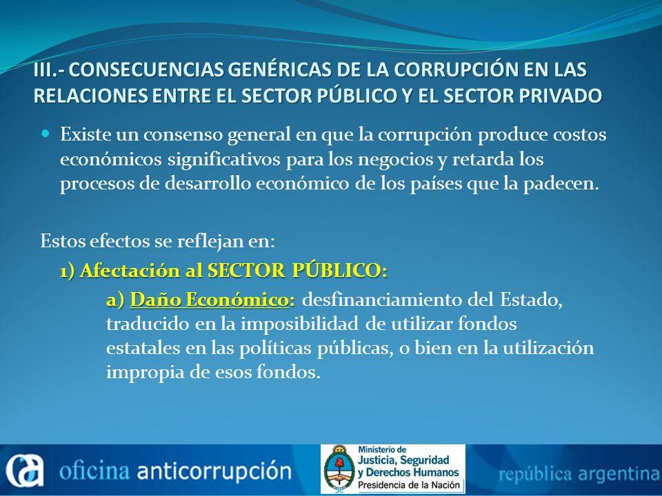 III.- CONSECUENCIAS GENÉRICAS DE LA CORRUPCIÓN EN LAS RELACIONES ENTRE EL SECTOR PÚBLICO Y EL SECTOR PRIVADO Existe un consenso general en que la corr