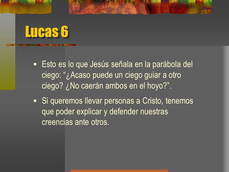 Lucas 6 Esto es lo que Jesús señala en la parábola del ciego: ¿Acaso puede un ciego guiar a otro ciego.