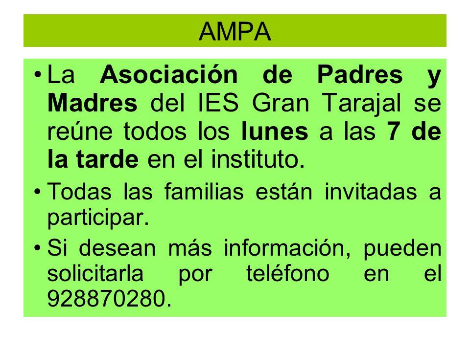 AMPA La Asociación de Padres y Madres del IES Gran Tarajal se reúne todos los lunes a las 7 de la tarde en el instituto. Todas las familias están invi