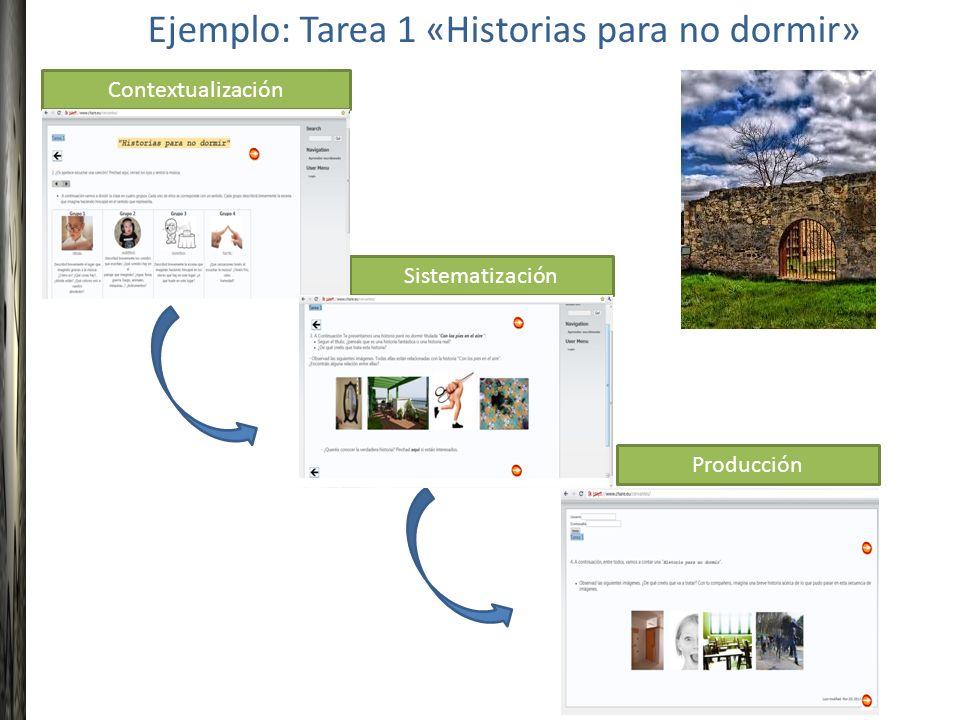 Contextualización Sistematización Producción Ejemplo: Tarea 1 «Historias para no dormir»