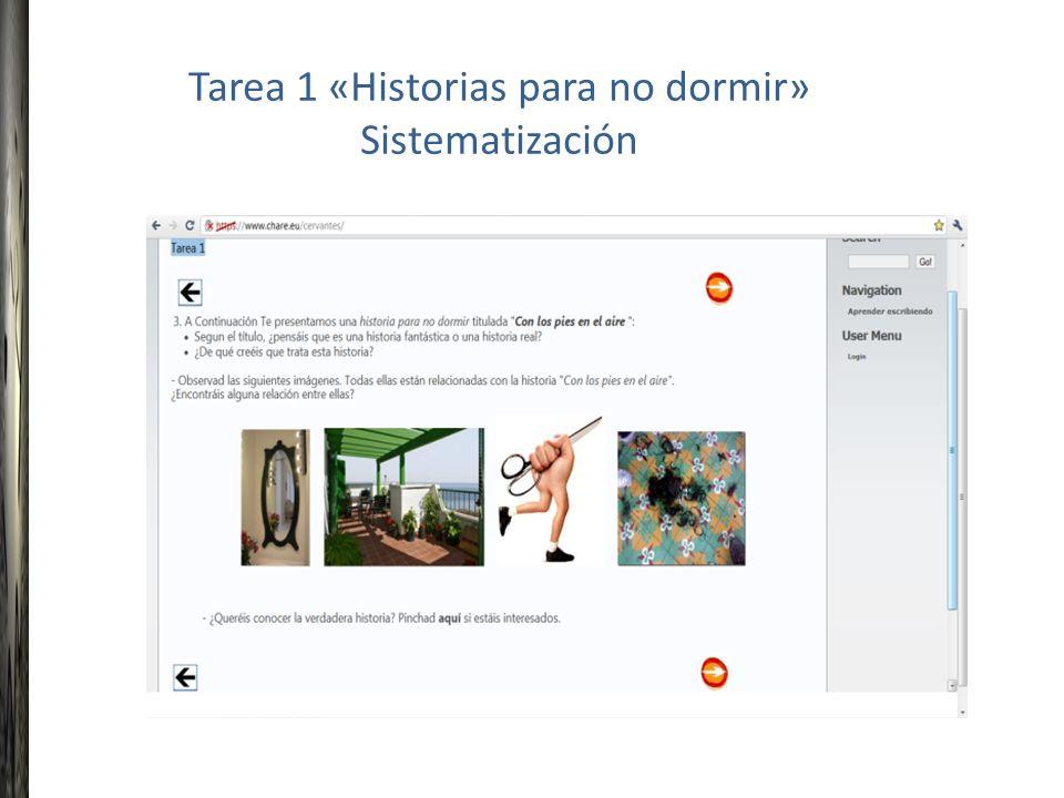Tarea 1 «Historias para no dormir» Sistematización