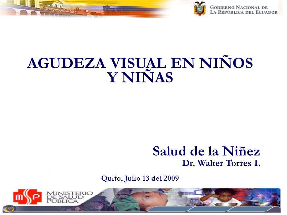 AGUDEZA VISUAL EN NIÑOS Y NIÑAS Salud de la Niñez Dr. Walter Torres I. Quito, Julio 13 del 2009