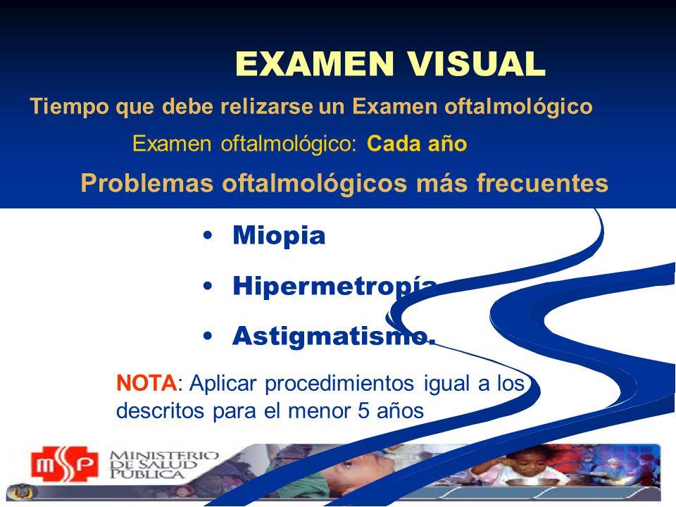 EXAMEN VISUAL Miopia Hipermetropía Astigmatismo. Tiempo que debe relizarse un Examen oftalmológico NOTA: Aplicar procedimientos igual a los descritos