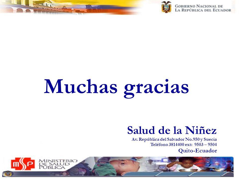 Muchas gracias Salud de la Niñez Av. República del Salvador No.950 y Suecia Teléfono 3814400 ext: 9503 – 9504 Quito-Ecuador