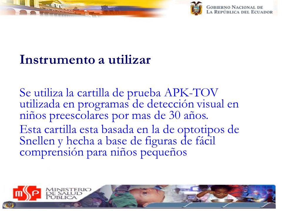 Instrumento a utilizar Se utiliza la cartilla de prueba APK-TOV utilizada en programas de detección visual en niños preescolares por mas de 30 años. E