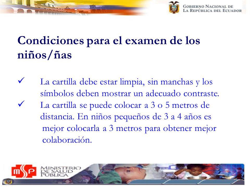 Condiciones para el examen de los niños/ñas La cartilla debe estar limpia, sin manchas y los símbolos deben mostrar un adecuado contraste. La cartilla