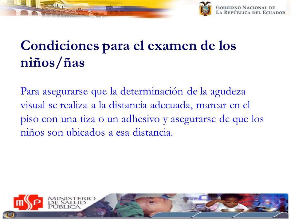 Condiciones para el examen de los niños/ñas La altura de la cartilla debe ser colocada a la altura de los ojos de los niños a examinar.