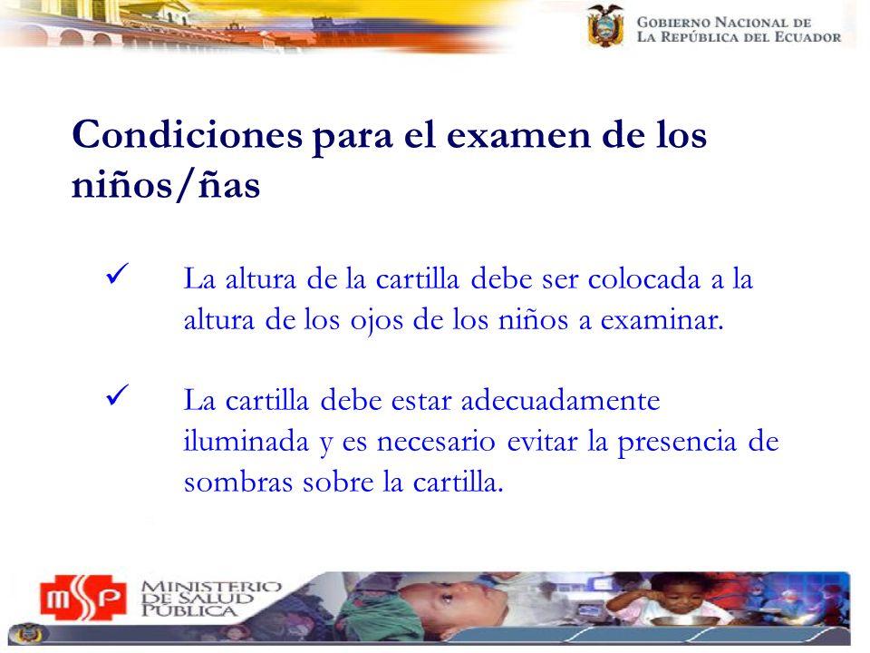 Condiciones para el examen de los niños/ñas La altura de la cartilla debe ser colocada a la altura de los ojos de los niños a examinar. La cartilla de