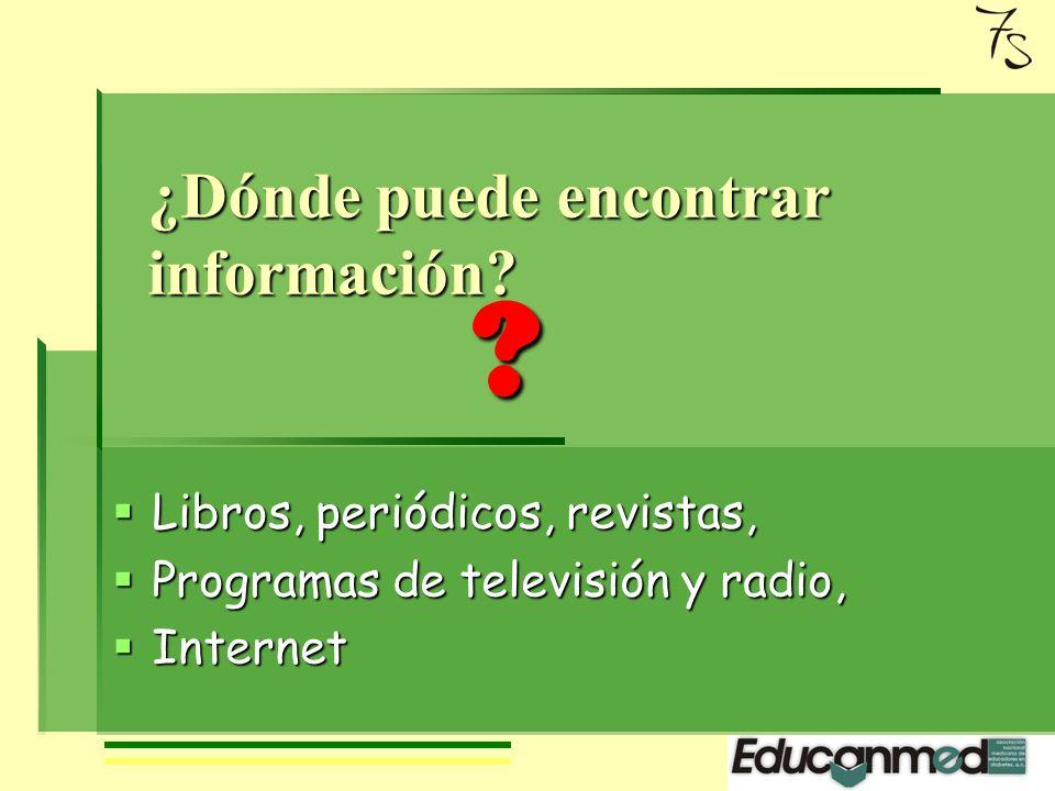 ¿Dónde puede encontrar información.