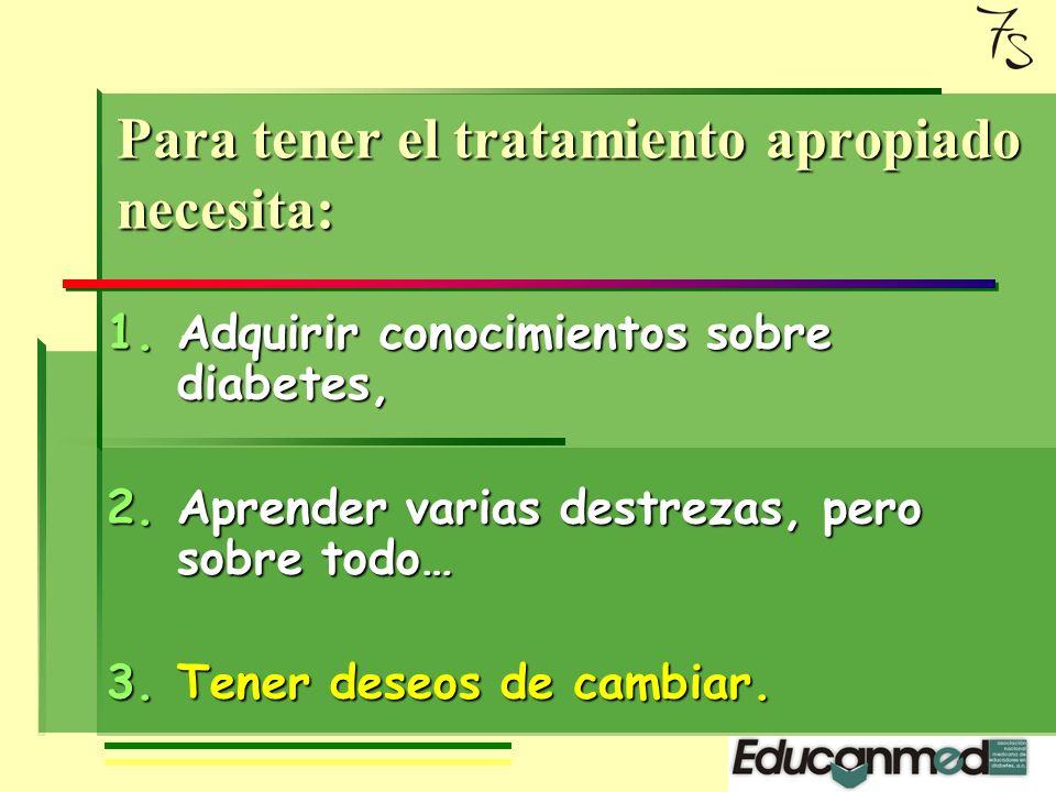 Para tener el tratamiento apropiado necesita: 1.Adquirir conocimientos sobre diabetes, 2.Aprender varias destrezas, pero sobre todo… 3.Tener deseos de cambiar.