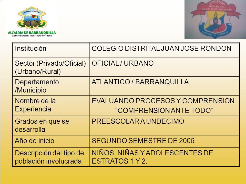 InstituciónCOLEGIO DISTRITAL JUAN JOSE RONDON Sector (Privado/Oficial) (Urbano/Rural) OFICIAL / URBANO Departamento /Municipio ATLANTICO / BARRANQUILLA Nombre de la Experiencia EVALUANDO PROCESOS Y COMPRENSION COMPRENSION ANTE TODO Grados en que se desarrolla PREESCOLAR A UNDECIMO Año de inicioSEGUNDO SEMESTRE DE 2006 Descripción del tipo de población involucrada NIÑOS, NIÑAS Y ADOLESCENTES DE ESTRATOS 1 Y 2.