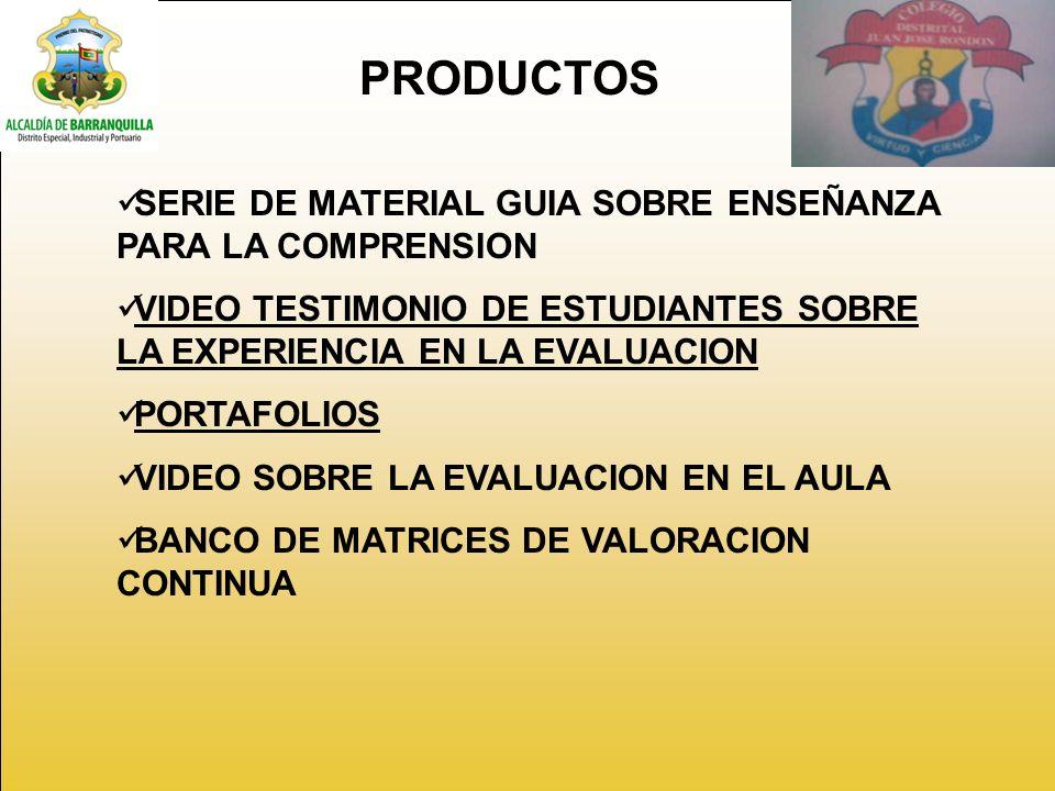 PRODUCTOS SERIE DE MATERIAL GUIA SOBRE ENSEÑANZA PARA LA COMPRENSION VIDEO TESTIMONIO DE ESTUDIANTES SOBRE LA EXPERIENCIA EN LA EVALUACION PORTAFOLIOS VIDEO SOBRE LA EVALUACION EN EL AULA BANCO DE MATRICES DE VALORACION CONTINUA