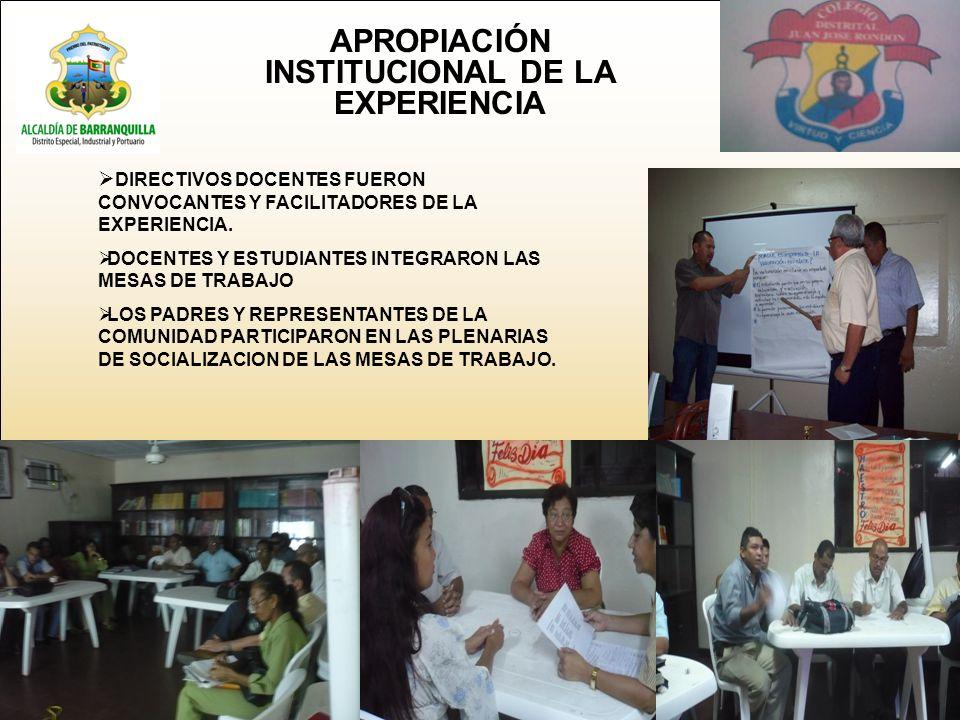 APROPIACIÓN INSTITUCIONAL DE LA EXPERIENCIA DIRECTIVOS DOCENTES FUERON CONVOCANTES Y FACILITADORES DE LA EXPERIENCIA.