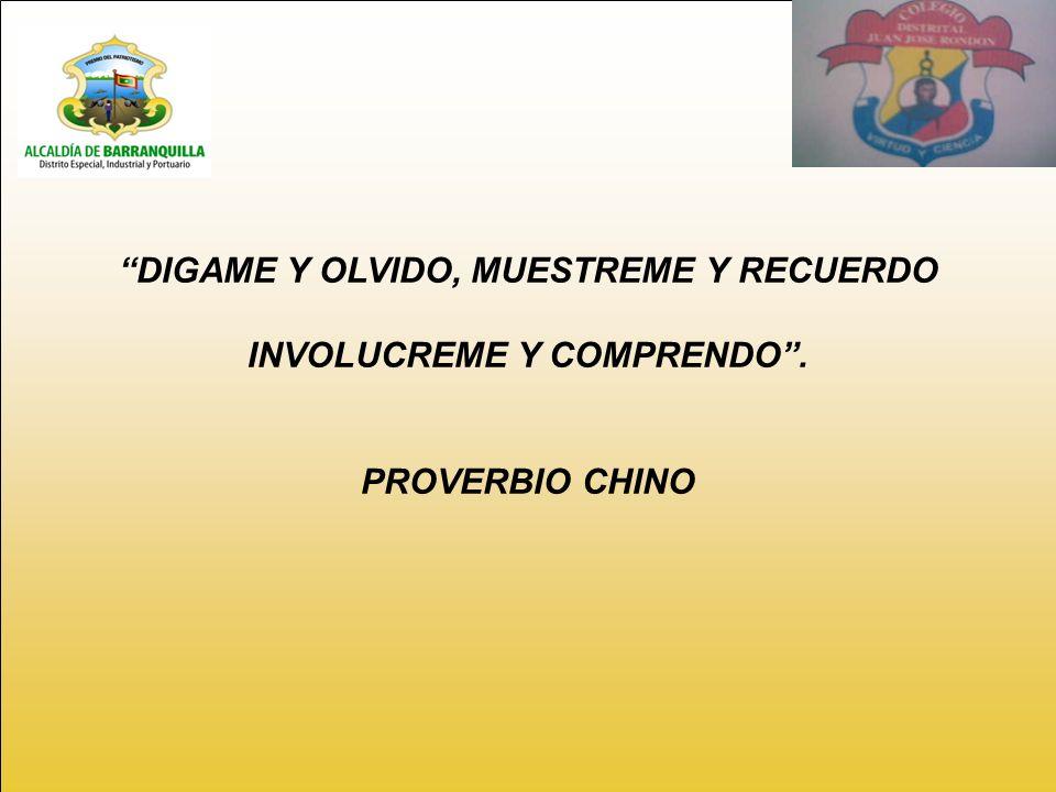 DIGAME Y OLVIDO, MUESTREME Y RECUERDO INVOLUCREME Y COMPRENDO. PROVERBIO CHINO