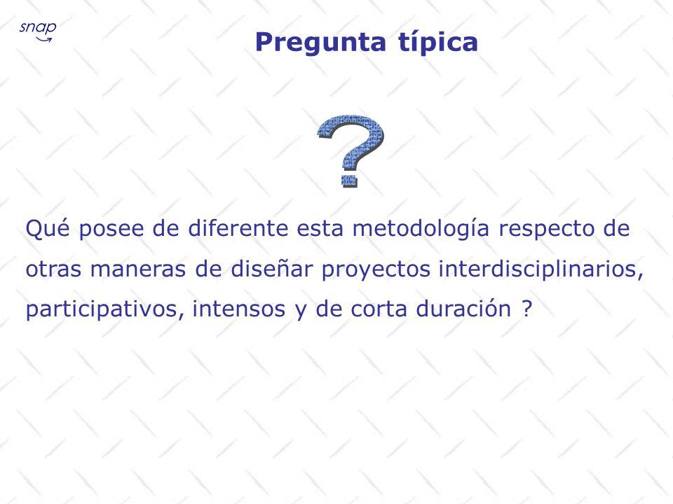 Pregunta típica Qué posee de diferente esta metodología respecto de otras maneras de diseñar proyectos interdisciplinarios, participativos, intensos y