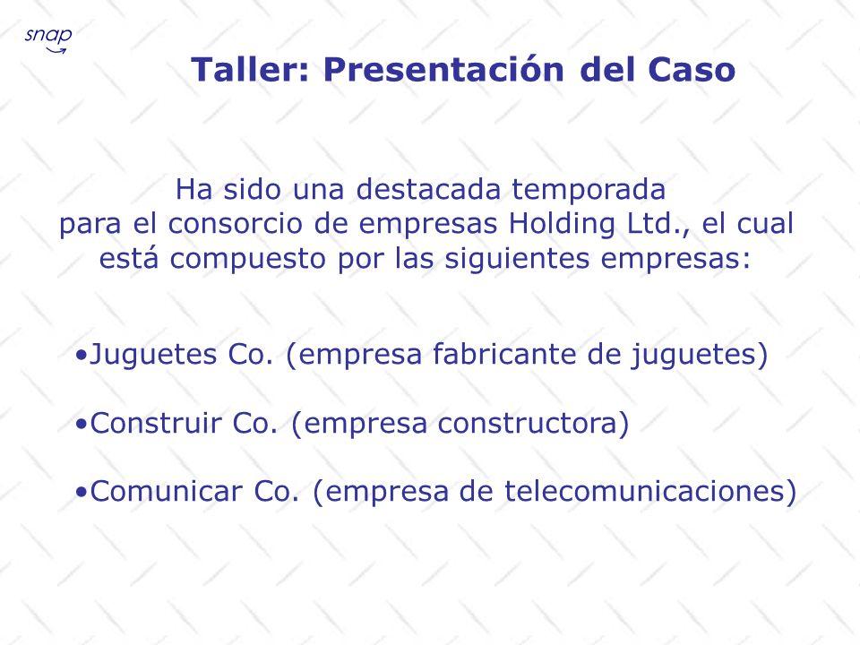 Taller: Presentación del Caso Ha sido una destacada temporada para el consorcio de empresas Holding Ltd., el cual está compuesto por las siguientes em