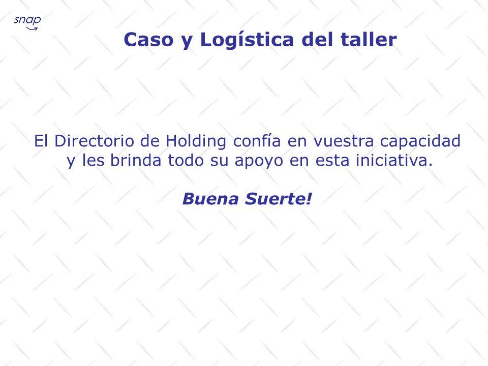 El Directorio de Holding confía en vuestra capacidad y les brinda todo su apoyo en esta iniciativa. Buena Suerte! Caso y Logística del taller