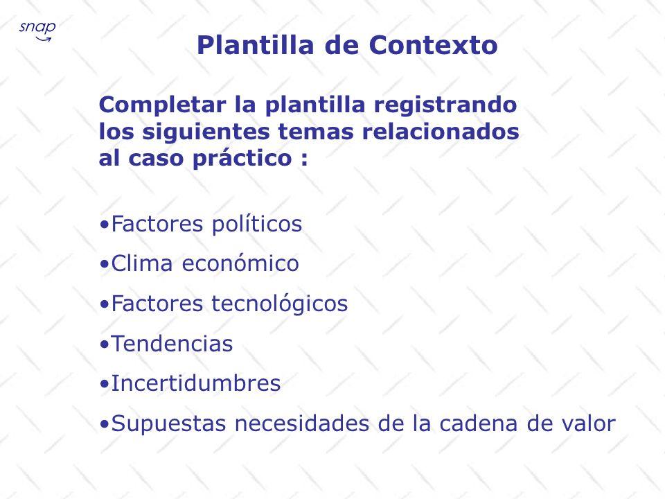 Plantilla de Contexto Completar la plantilla registrando los siguientes temas relacionados al caso práctico : Factores políticos Clima económico Facto