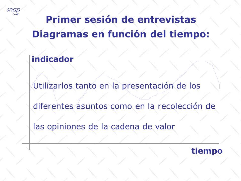 Primer sesión de entrevistas Diagramas en función del tiempo: Utilizarlos tanto en la presentación de los diferentes asuntos como en la recolección de