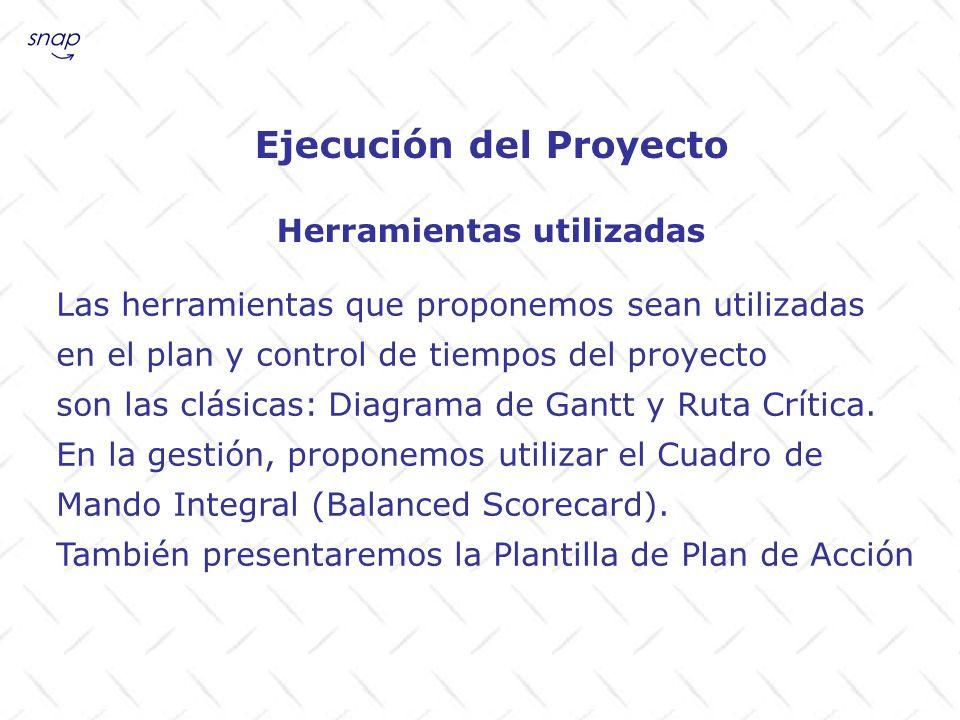 Ejecución del Proyecto Herramientas utilizadas Las herramientas que proponemos sean utilizadas en el plan y control de tiempos del proyecto son las cl