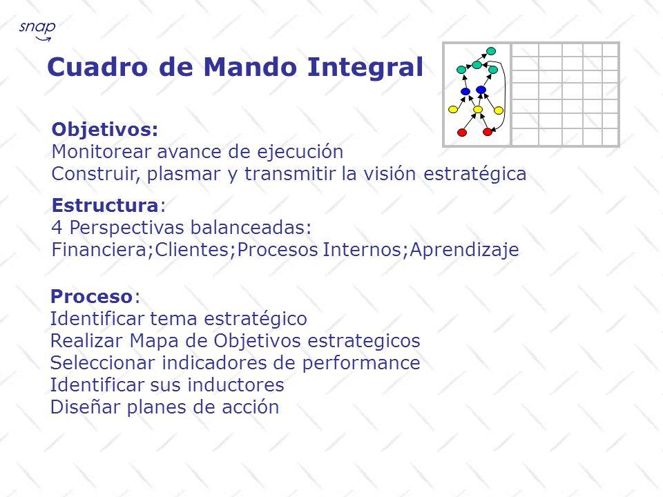 Cuadro de Mando Integral Objetivos: Monitorear avance de ejecución Construir, plasmar y transmitir la visión estratégica Proceso: Identificar tema est