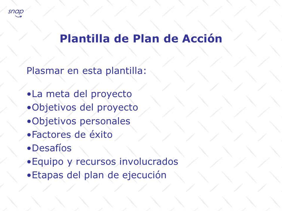 Plasmar en esta plantilla: La meta del proyecto Objetivos del proyecto Objetivos personales Factores de éxito Desafíos Equipo y recursos involucrados