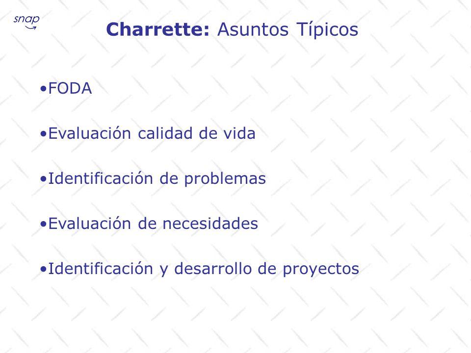 Charrette: Asuntos Típicos FODA Evaluación calidad de vida Identificación de problemas Evaluación de necesidades Identificación y desarrollo de proyec