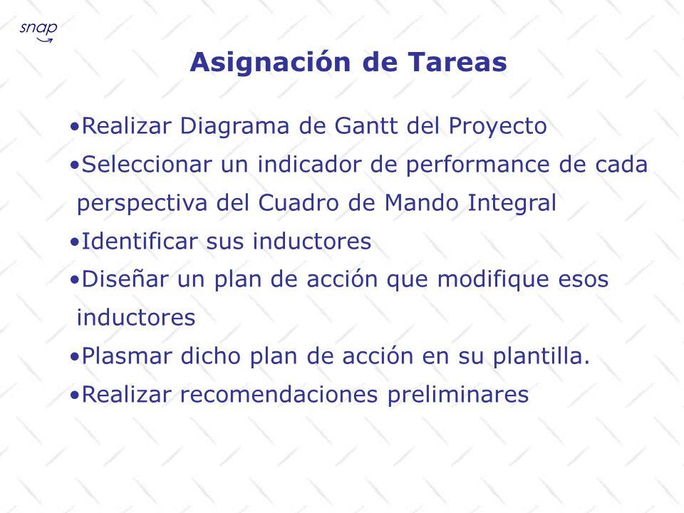 Asignación de Tareas Realizar Diagrama de Gantt del Proyecto Seleccionar un indicador de performance de cada perspectiva del Cuadro de Mando Integral