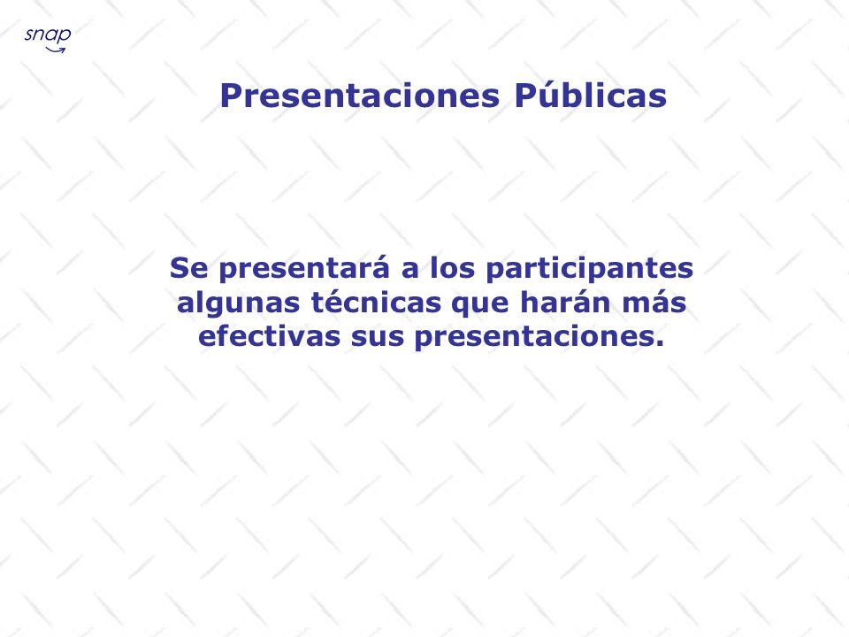 Presentaciones Públicas Se presentará a los participantes algunas técnicas que harán más efectivas sus presentaciones.