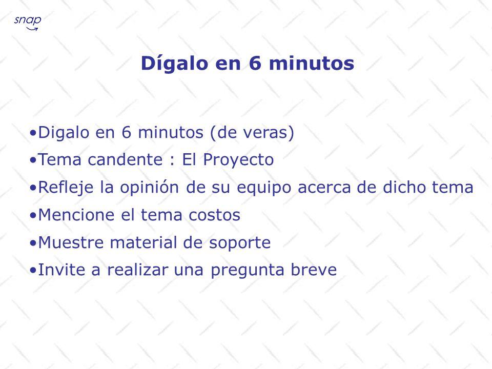 Dígalo en 6 minutos Digalo en 6 minutos (de veras) Tema candente : El Proyecto Refleje la opinión de su equipo acerca de dicho tema Mencione el tema c
