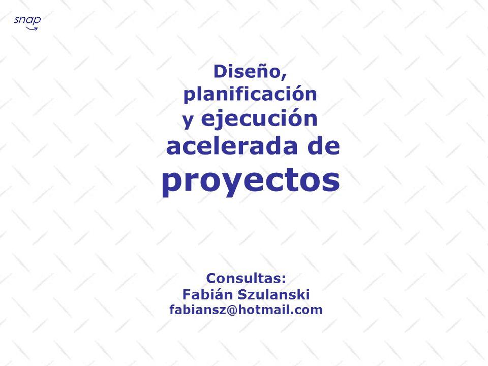 Diseño, planificación y ejecución acelerada de proyectos Consultas: Fabián Szulanski fabiansz@hotmail.com