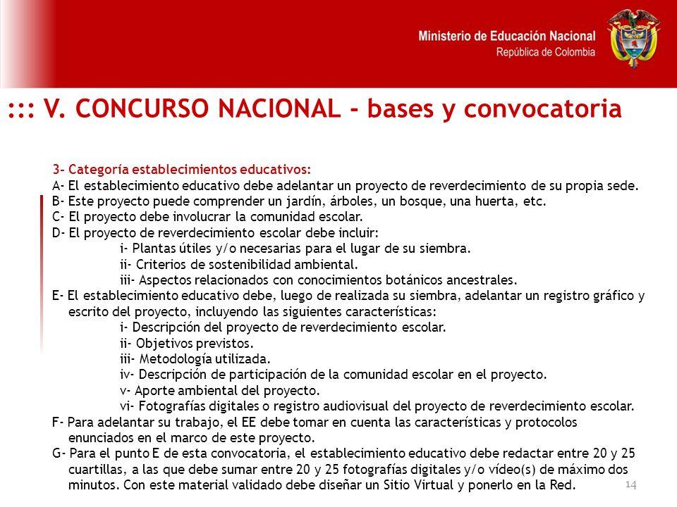 14 ::: V. CONCURSO NACIONAL - bases y convocatoria 3- Categoría establecimientos educativos: A- El establecimiento educativo debe adelantar un proyect