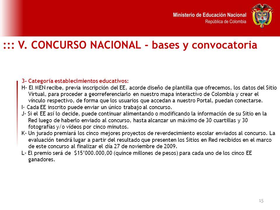 15 ::: V. CONCURSO NACIONAL - bases y convocatoria 3- Categoría establecimientos educativos: H- El MEN recibe, previa inscripción del EE, acorde diseñ