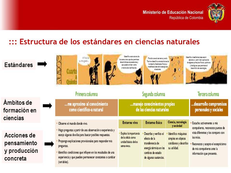 23 Estándares Acciones de pensamiento y producción concreta Ámbitos de formación en ciencias ::: Estructura de los estándares en ciencias naturales