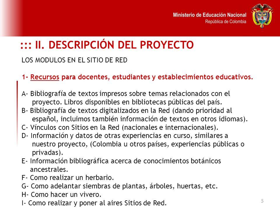 5 LOS MODULOS EN EL SITIO DE RED 1- Recursos para docentes, estudiantes y establecimientos educativos. A- Bibliografía de textos impresos sobre temas