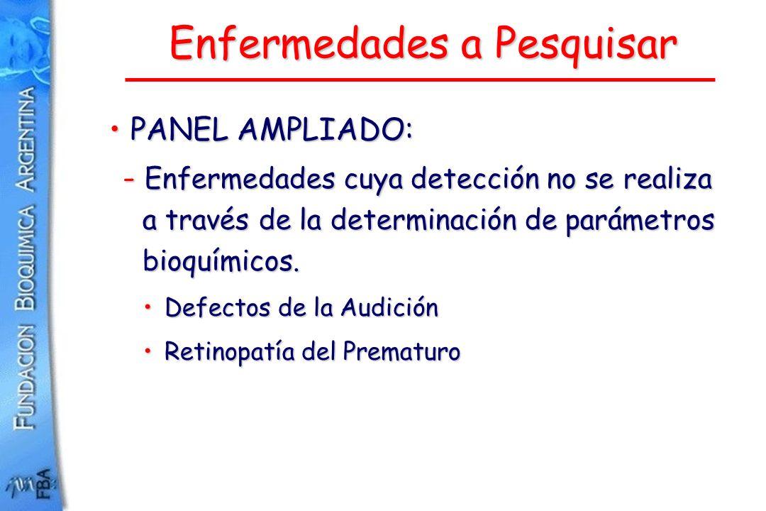 Enfermedades a Pesquisar PANEL AMPLIADO:PANEL AMPLIADO: - Enfermedades cuya detección no se realiza a través de la determinación de parámetros bioquím