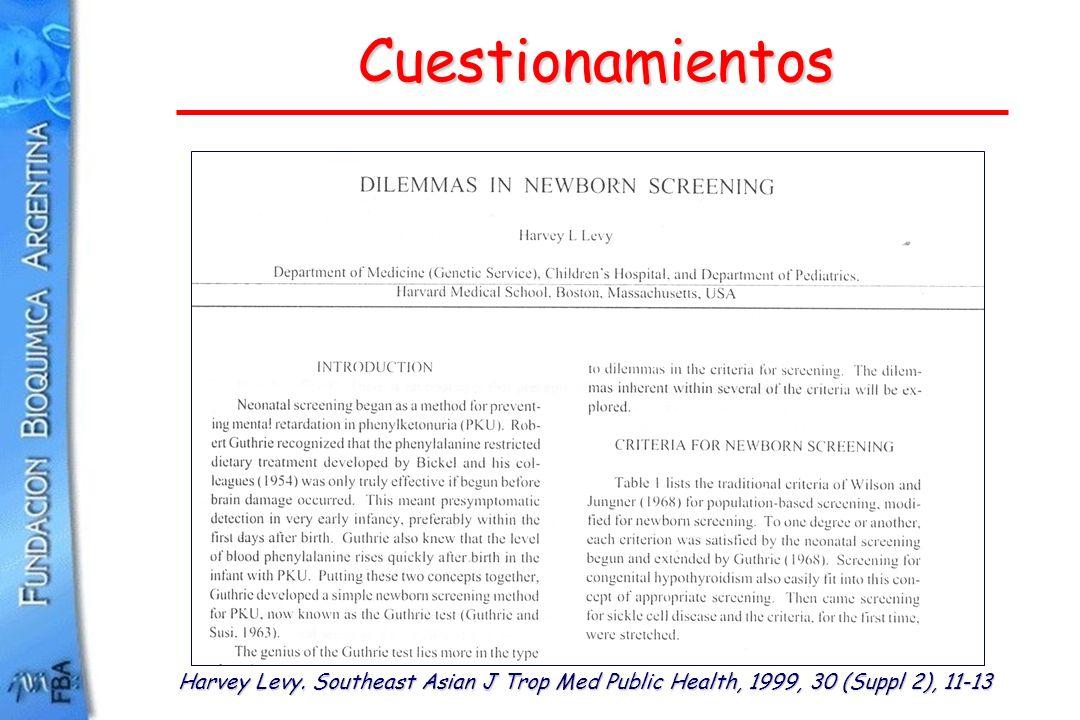 Cuestionamientos Harvey Levy. Southeast Asian J Trop Med Public Health, 1999, 30 (Suppl 2), 11-13