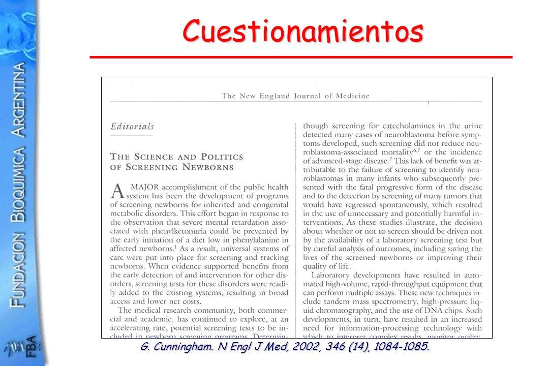 Cuestionamientos G. Cunningham. N Engl J Med, 2002, 346 (14), 1084-1085.
