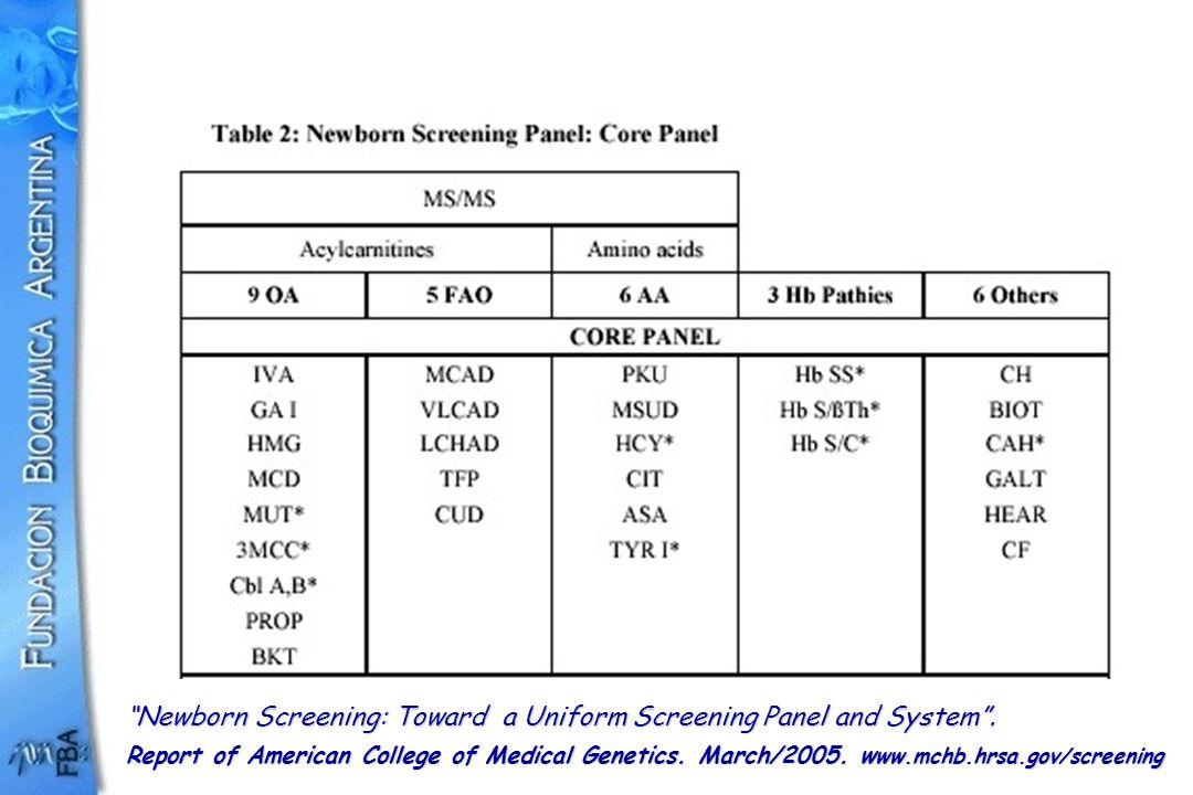 Newborn Screening: Toward a Uniform Screening Panel and System. Report of American College of Medical Genetics. March/2005. w ww.mchb.hrsa.gov/screeni