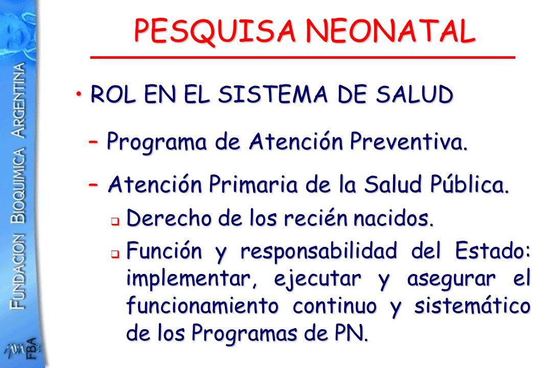 PESQUISA NEONATAL ROL EN EL SISTEMA DE SALUD ROL EN EL SISTEMA DE SALUD – Programa de Atención Preventiva. – Atención Primaria de la Salud Pública. De