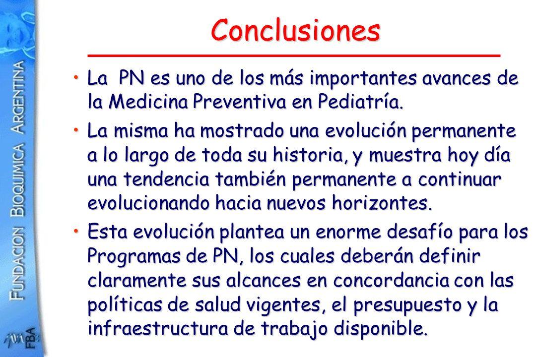 Conclusiones La PN es uno de los más importantes avances de la Medicina Preventiva en Pediatría.La PN es uno de los más importantes avances de la Medi