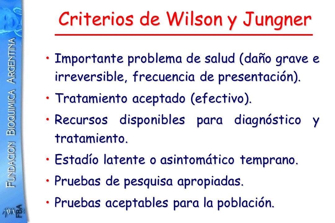 Criterios de Wilson y Jungner Importante problema de salud (daño grave e irreversible, frecuencia de presentación).Importante problema de salud (daño
