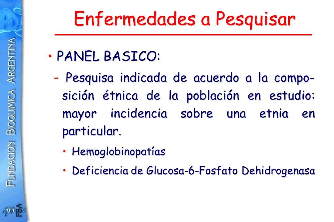 Enfermedades a Pesquisar PANEL BASICO:PANEL BASICO: - Pesquisa indicada de acuerdo a la compo- sición étnica de la población en estudio: mayor inciden