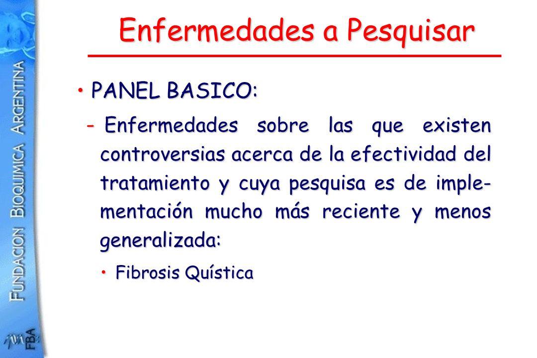 Enfermedades a Pesquisar PANEL BASICO:PANEL BASICO: - Enfermedades sobre las que existen controversias acerca de la efectividad del tratamiento y cuya