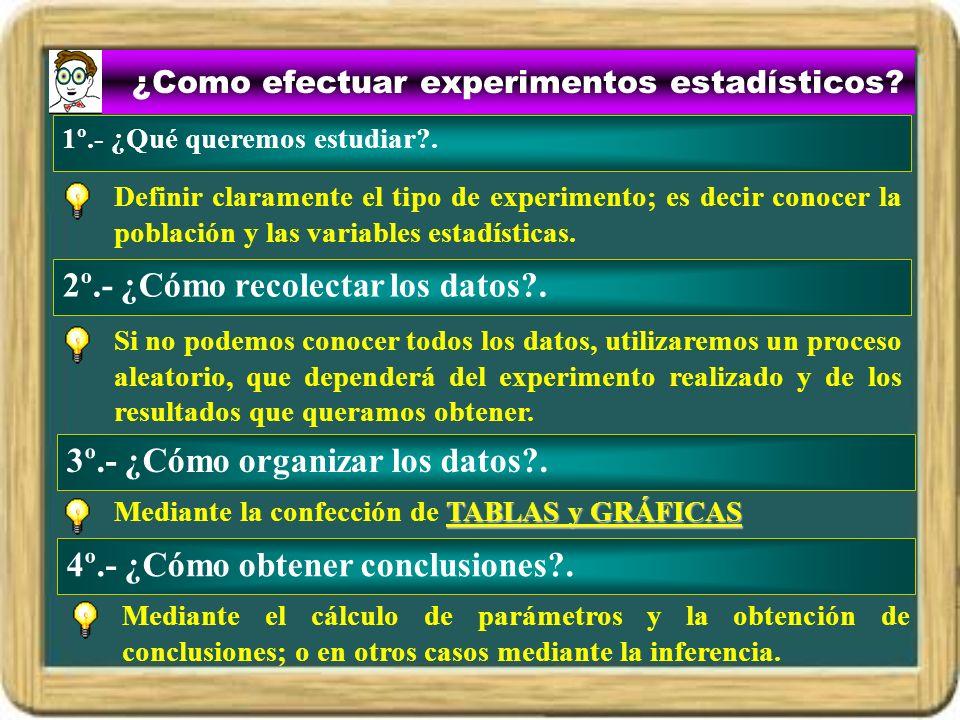 ¿Como efectuar experimentos estadísticos? Definir claramente el tipo de experimento; es decir conocer la población y las variables estadísticas. 2º.-