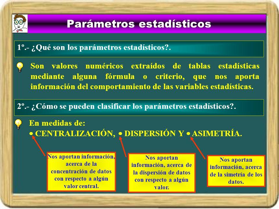 Parámetros estadísticos Son valores numéricos extraídos de tablas estadísticas mediante alguna fórmula o criterio, que nos aporta información del comp