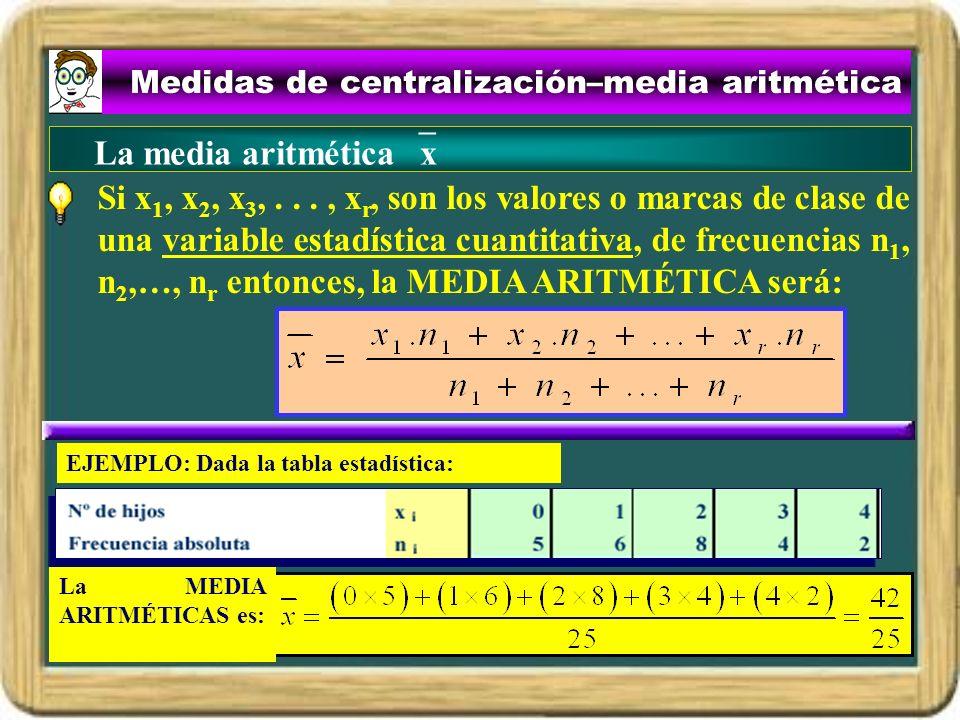 Medidas de centralización–media aritmética Si x 1, x 2, x 3,..., x r, son los valores o marcas de clase de una variable estadística cuantitativa, de f