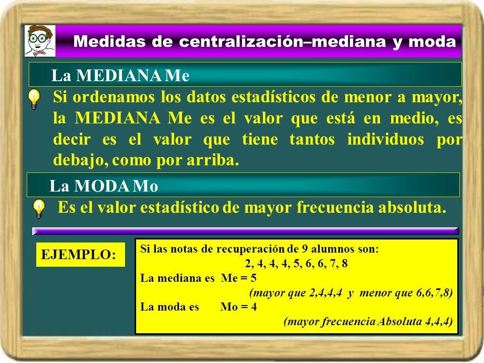 Medidas de centralización–mediana y moda Si ordenamos los datos estadísticos de menor a mayor, la MEDIANA Me es el valor que está en medio, es decir e