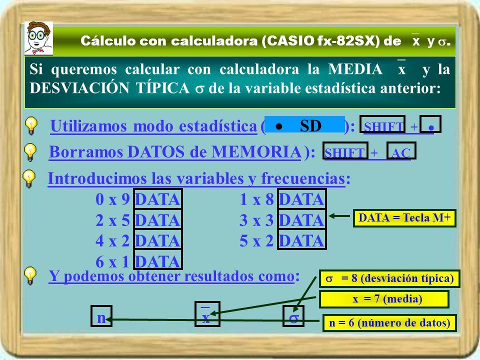 Cálculo con calculadora (CASIO fx-82SX) de x y. Si queremos calcular con calculadora la MEDIA x y la DESVIACIÓN TÍPICA de la variable estadística ante